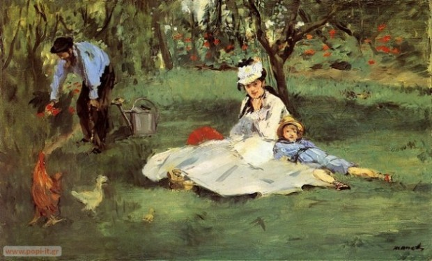 The Monet Family in Their Garden, by Edouard Manet. 1874