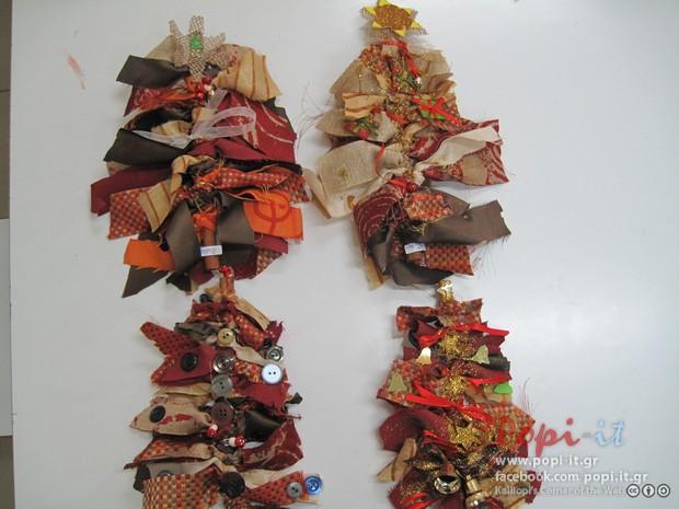 Χριστουγεννιάτικες κατασκευές από παιδιά - Χριστουγεννιάτικα δέντρα με κανέλες και υφάσματα
