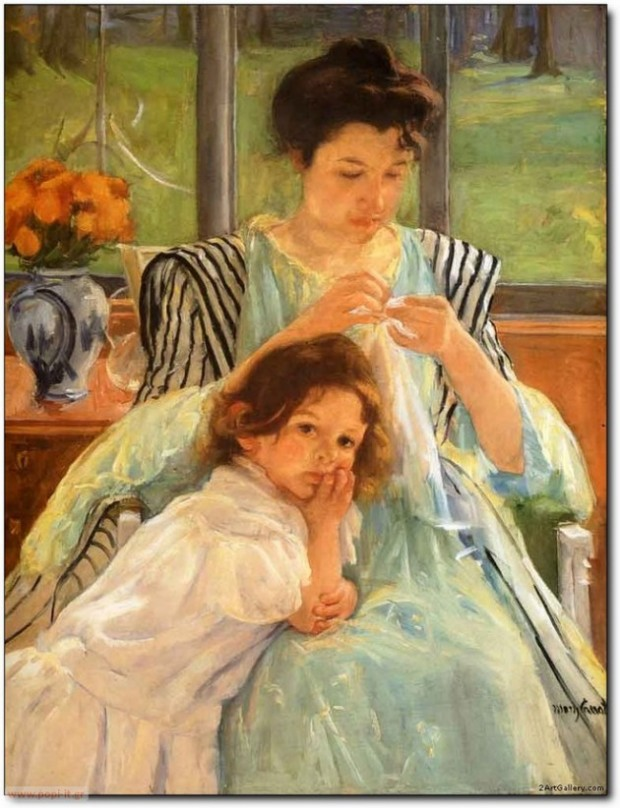 Young Mother Sewing, by Mary Cassatt. 1900
