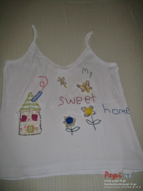 Πάτσγουορκ (patchwork)  σε μπλουζάκια - Μπλουζάκι σπιτάκι