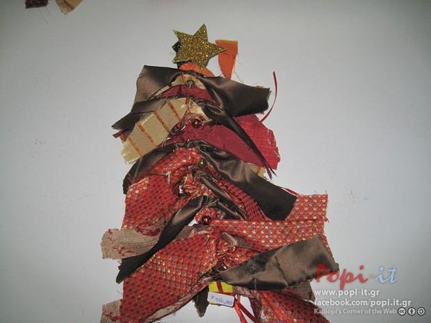 Χριστουγεννιάτικες κατασκευές από παιδιά - Χριστουγεννιάτικο δέντρομε κανέλες και υφάσματα